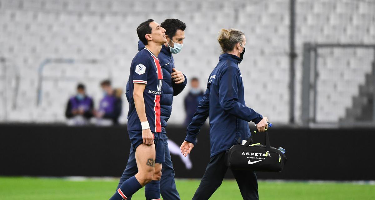 Résultat Ligue 1 : le PSG domine déjà l'OM mais a perdu Di Maria (0-2, mi-temps)