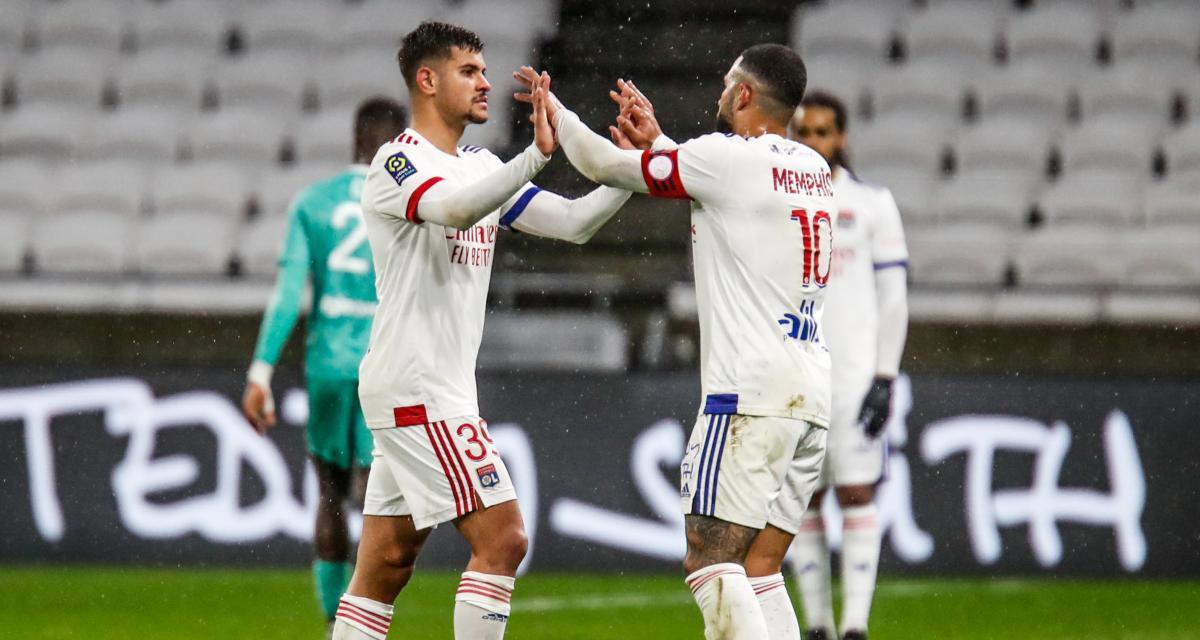 OL - FC Lorient (4-1) : Memphis Depay se moque d'un de ses coéquipiers